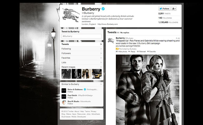 Burberry Twitter page