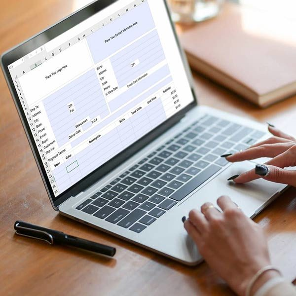 purchase order form on laptop