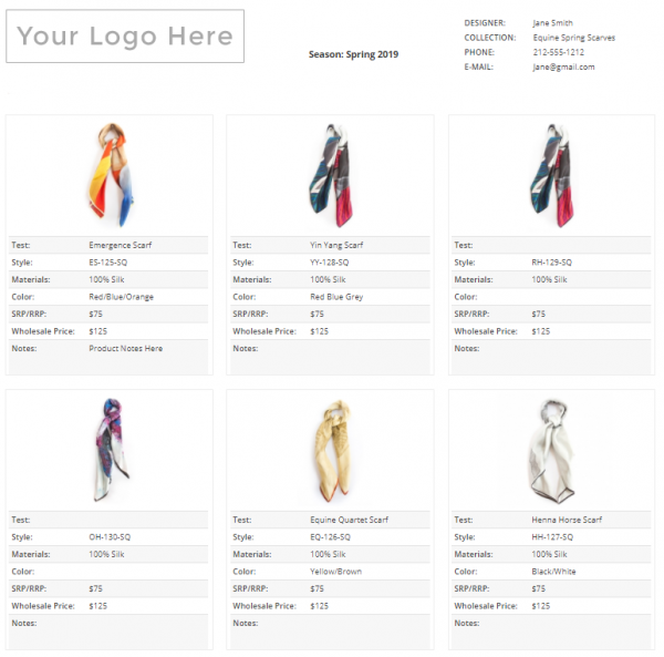Wholesale Line Sheet Template 2