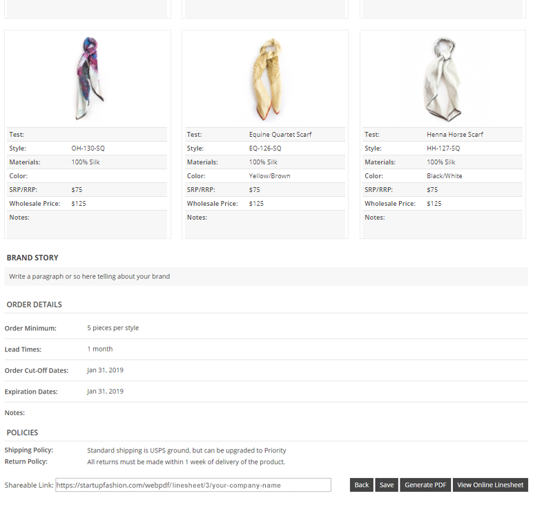 Wholesale Line Sheet Template StartUp FASHION - Wholesale line sheet template